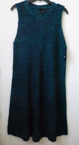 NWT New Directions Size L Casual Knitted Sleeveless Sweater Dress Black/Green