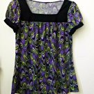 Size M ?? Multi-Color Stretch Short Sleeve Women's Top Square Neck Geometric