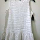 NWT CROWN&IVY Size XS White Sleeveless Women Top Basketweave Scooped Neck