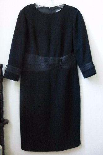 MELISSA COLLECTION Size 4 Black 3/4 Sleeve Pensil Dress Lined Back Zipper