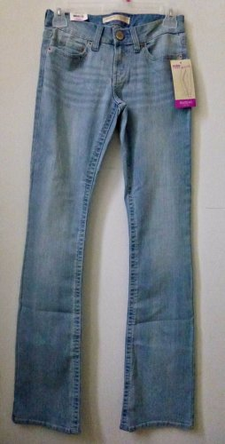 NO BOUNDARIES Size 1 Juniors Blue Stonewashed Jeans Bootcut 4 Pockets Low Rise