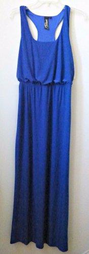 NWT JuniorsTRIXXI Size S Blue Solid Maxi Dress Sleeveless Halter Elastic Waist