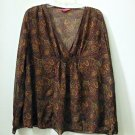 Liz Lange Size S Maternity Sheer Deep V-Neck Long Sleeve Top Brown Paisley
