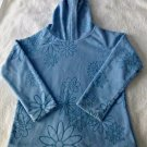 OLD NAVY Girls' Size S Casual Sweater W/Hood Long Sleeve Blue Floral/Snowflakes