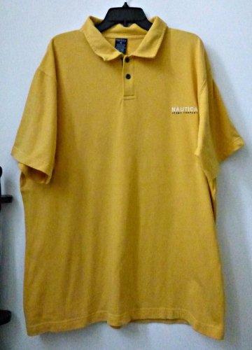 Men's Nautica Jeans Company Size XXL/TTG Polo Shirt Yellow Short Sleeve Cotton