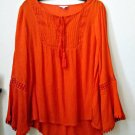 NWT Crown&Ivy Size S Red Long Sleeve Bib Front Top Crochet Detail Hi-Low Casual