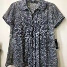 NWT East 5th Juniors Size M Sheer Short Sleeve Casual Blouse W/Tank Bib Front