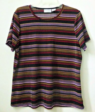 Jaclyn Smith Size L Multi-Color Short Sleeve Striped Stretch Casual Knit Top