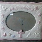 RUSS BERRIE & CO. BABY'S CHRISTENING Girl's Ceramic Picture Frame 5.5''X3.5''