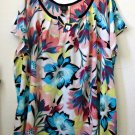PLUS NWT WORTHINGTON Size 1X Woman White/Multi-Color Short Sleeve Blouse Floral