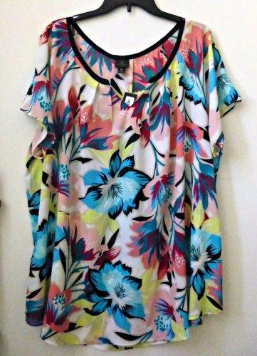 PLUS NWT WORTHINGTON Size 1X Woman White/Multi-Color Short Sleeve Blouse Floral