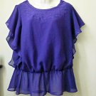CATO Size M Purple Blouson Top Smocked Hem Scooped Neck Short Angel Sleeve