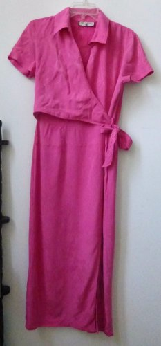 Caribbean Joe Size M ?? Women Pink Short Sleeve Maxi Dress Half Wrap Side Slit