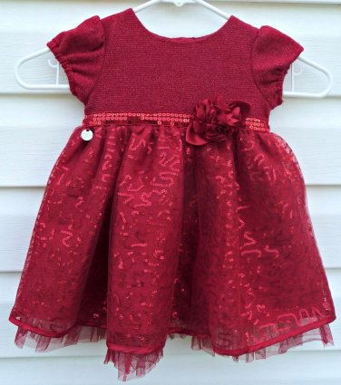 Sweet Heart RoseSize 18 months Girls  Party Dress Red Metallic Short Sleeve