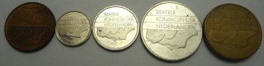 Money Europe SET of 5 Netherlands Circulation Coins 5,10,25 cents,1,5 Gulden