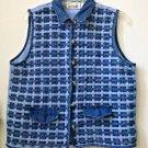Woman's Casey&Max Size L Blue Basketweave Women's Vest Cotton Faux Pockets