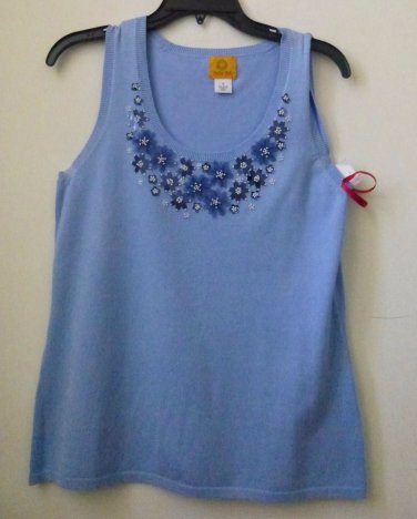 NWT RUBY RD. Size S Sleeveless Tank Top Embellished Beaded Floral/Solid Stretch