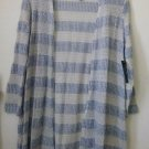 NWT KIM ROGERS Size S Open Front Cardigan Blue Long Sleeve Side Slits Striped