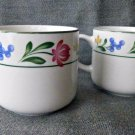 SET of 5 FARBERWARE Cups/Mugs Stoneware Dorchester 388 1995 White Floral