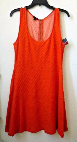 NWT Juniors BONGO Size L Red Sleeveless Party Tea Dress Dress Mesh Back Zipper