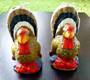 Vintage Unused Set of 2 Thanksgiving Turkey Candles 4'' Tall