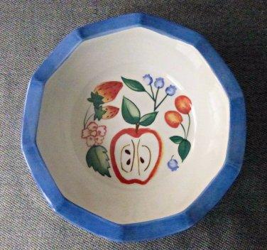 Princess House Exclusive SET of 3 Cereal Bowls Fruit Design Scalloped Rim 6''