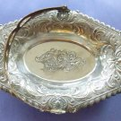 Silver Bronze Dish with Handle Ornate Tray Ring Dish Trinket Dish 7''X 5''