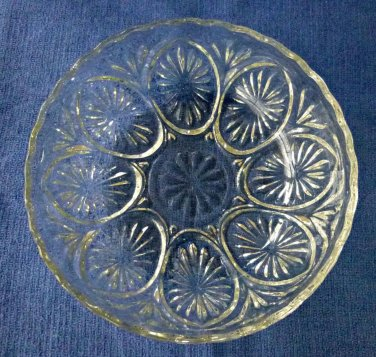 Clear Cut Crystal Glass Bowl Candy Dish Star Design Scalloped 8'' Wide