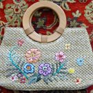 Beige Straw Bag with Floral Design with Sequins Embellishment Wooden Handles