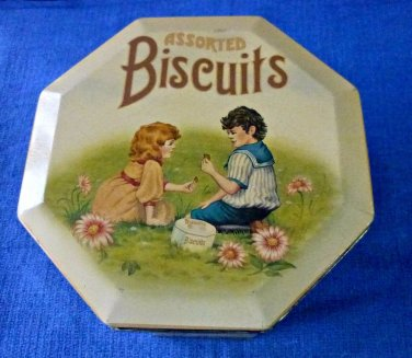 VTG Assorted Biscuits Tin/Canister Boy & Girl Design Hexagon Shape 4''X5.5''
