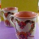 VTG Potpourri Press SET of 2 Tea Cups/Mugs Chelsea Wreath 1989 Made in Korea