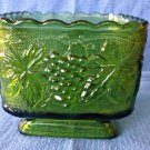 VTG Indiana Glass Green Raised Grape Design Square Candy Dish Footed Scalloped