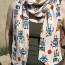 Long Double-sided Flannel Robot Scarf | Party Robots