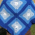 $83.50  3 Tone Blue and White Acrylic Crocheted Afghan 40 X 40 Inches Dark Blue Shell Stitch Edging