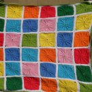 $95.75  Pinwheel Crocheted Acrylic Afghan 42 X 42 in Blues-Greens-Yellow-Orange-Pink edged in White