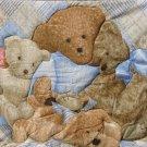 $40.50  Teddy Bear Family Quilt-100% Cotton Fabric-Polyester Fiber Batting-Tan Cotton Flannel