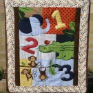 $40.50  Educational Animal and Numbers Quilt-Backed With Monkeys on Cotton Flannel 35 X 41 Inches