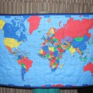 Hand Tied-$45.50 World Map-USA Map - Quilt --Washable-