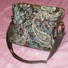 $30  9 x 7 1/2 Inch Ladies Shoulder Bag - Blues and Browns Quilted Paisley
