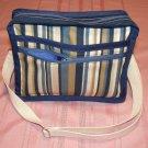 $50  Ladies Shoulder Bag - Blue and Tan Stripes