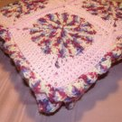 $98.75 Pink and Purple Variegated Crocheted Afghan- 50 X 50 Inches