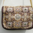 $60  Shoulder Bag - Brown and Gold Spanish Tiles with Brown Edging and Gold Ric Rac - 9 X 12 Inches
