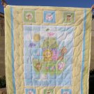 $40.50 New Baby Quilt-37X45 inches-Cotton Fabric with Noahs Arc Printed on Cotton Fabric for Backing