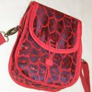$50 Red Hat Ladies Pouch Shoulder Bag- Purple Sateen with Red Decorative Netting