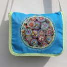 $45 SALE ITEM-Shoulder Bag-Turquoise-Multi Colored Circles Edged in Spring Green-Top Stitching