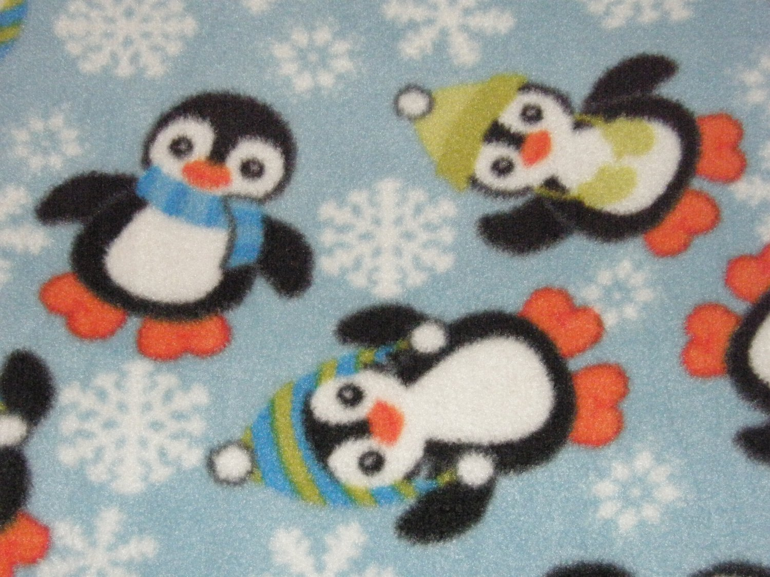 "$21.75  Antipill Fleece Throw 45"" x 45""  Penguins On Blue-and 14"" X 14"" Lovey For the Child to Hold"