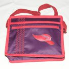 $59.50 Red Hat Ladies Shoulder Bag Red Hat Applique Purple Sateen Red Stylized Rope Top Stitching