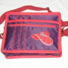 $59.50 Red Hat Ladies 8X10 Shoulder Bag Purple Sateen Red Hat Decor RedStylizedFlowerTopStitching