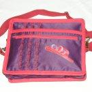 $59.50 Red Hat Ladies 8X10 Shoulder Bag Purple Sateen Red Hat Purple Ribbon RedStylizedTopStitching