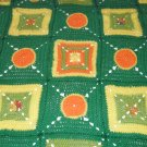 $98.75  Retro Crocheted Acrylic Afghan 47 X 47 inches in Greens, Yellows and Oranges